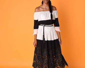 Sheer Black and White Georgette Skirt, with French Lace Hem