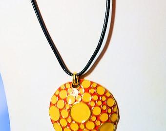 Joan Rivers Necklace, Yellow n Orange Medallion on Black Cord