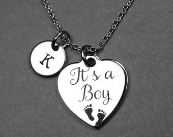 It's a Boy necklace, it's a Boy charm, baby necklace, New mommy necklace, mom, new mom jewelry, personalized charm, initial necklace
