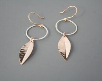 sterling silver hoop and gold filled leaf earrings, mixed metal dangle earrings, Rachel Wilder Handmade Jewelry