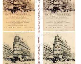 Paris Hotel  de la Paix French Script Advertisement Victorian Horse Buggy 4 Versions of Antique Postcard 8x10 Digital Printable Page