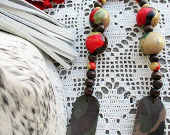 Camouflage Leather Necklace - Funky Vintage Wooden Beads  - Deer Antler Tip by Stacy Leigh