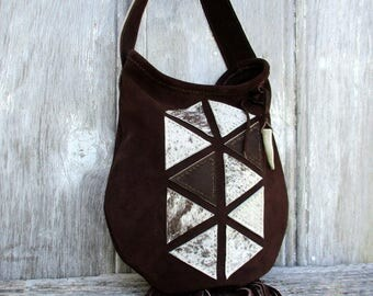 Geometric Triangle Suede Leather Shoulder Bag with Fringe by Stacy Leigh in Dark Chocolate Brown