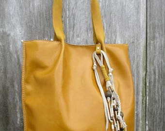 Leather Tote Bag in Saffron by Stacy Leigh with Rustic Fringe Embellishment