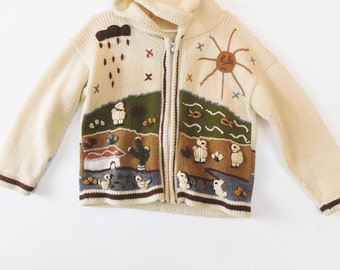 Ethnic Handmade Sweater, Kids Sweater, Zip up knit ethnic sweater, Free Shipping