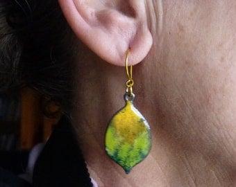 Handmade Enameled  Earrings - Hammered and Torchfired with Yellow Earring Hooks - Lemon Drops