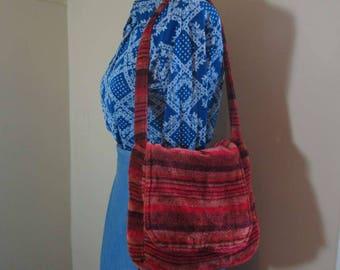 Vintage 70s Carpet Bag purse Burgundy velvet 70s shoulder bag Stripe carpet vintage tote bag 70s Paul B Stone California crossbody purse