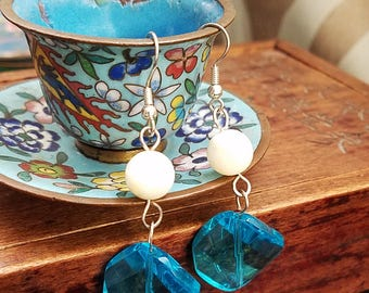 Tidepools - turquoise glass mother of pearl silver dangle earrings I like this color a whole bunch