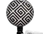 Black and White Geometric Design Badge Reel, ID Badge Holder  324