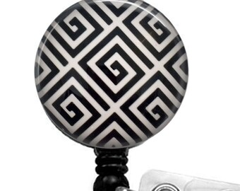 Black and White Geometric Design Badge Reel, ID Badge Holder  324