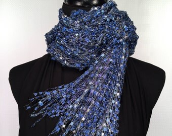 Blue & White Knit Double Strand Ladder Trellis Ribbon Scarf with Silver Accents and Fringe