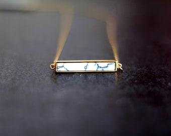 White Marble Bar necklace 14K goldfilled Howlite Minimalist gift under 50 VitrineDesigns