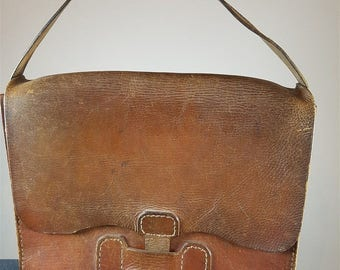 Vintage Brown Leather Saddle Bag Purse 1940's