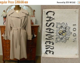 MOVING SALE Vintage 70s Cashmere Wrap Coat, 1970s Taupe Cashmere with Original Belt, Size M to L, Medium to Large