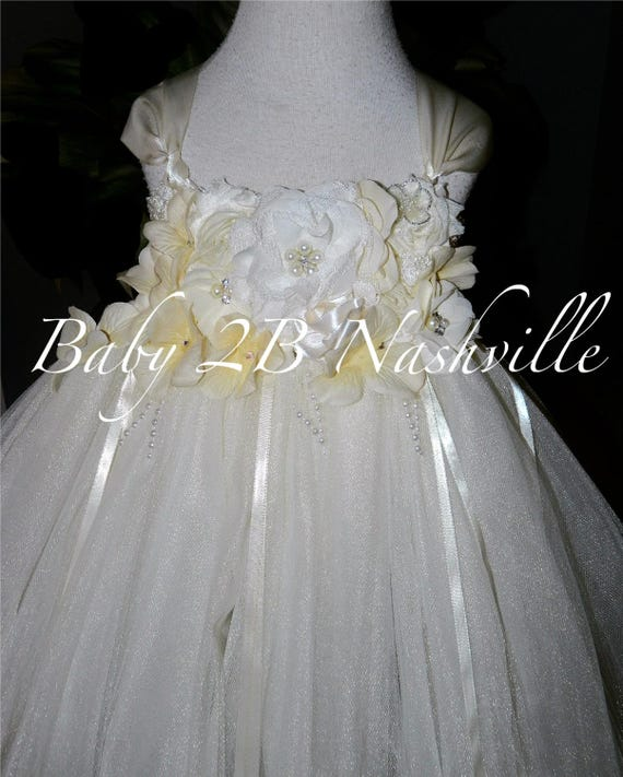 Deluxe Floral Ivory Dress Tutu Dress Wedding Dress Flower Girl Dress Tulle Dress Ivory Baby Dress Toddler Tutu Dress Ivory Girls Dress