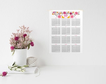 2017 Year At A Glance Calendars - PDF Printable Download
