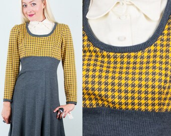 SCHOOLGIRL KNIT Vintage 60s Mod Yellow+Grey Check Unworn Sweater Dress New-Old-Stock w/Tags M