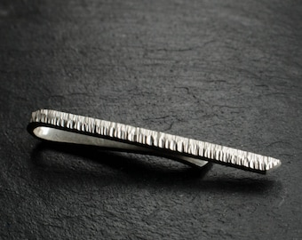 Tie Bar - Skinny Hammered Textured Sterling Silver Tie Clip - The Ridge Tie Tack - Wedding Accessories for Men