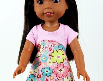 Fits like Wellie Wishers Doll Clothes - Tri-City Dress in Pink Flowers | 14.5 Inch Doll Clothes