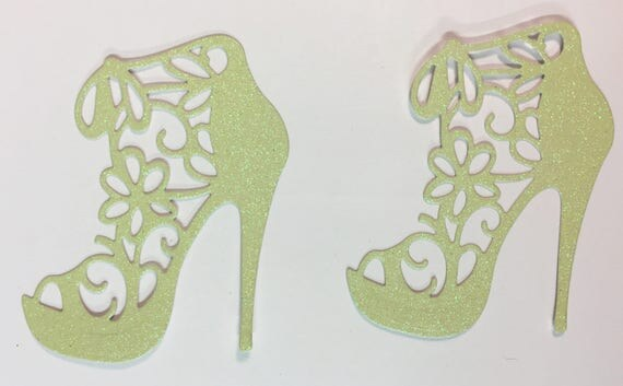 High Heel Shoe Glitter Die Cut Flower Lace Pastel Yellow Elegant Feminine Embellishment Scrapbook Greeting Card Art Craft Mixed Media Gift