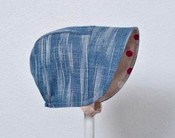 Reversible Baby Bonnet Textured Denim and Cotton + Steel Baby Sun Hat Toddler Bonnet