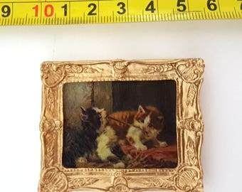 J. Adam framed painting 2 Playing Kittens - for 1:12 dollhouse