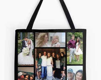 Sample personalized custom photo tote bag gift, birthday housewarming Mother's Father's Day graduation grandparents Christmas birthday gift