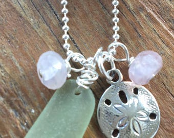 Sterling Sand Dollar & Sea Glass Necklace