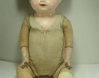1915 Catherine Effanbee Composition And Cloth Body Baby Doll, Vintage, Antique, Rare, Joined, Sleepy Eyes, 24 Inch