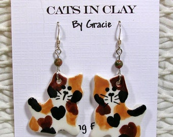 Calico Cat Shaped French Wire Earrings Handmade In Kiln Fired Clay by Gracie