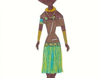 Datoga from Tanzania Girls Around The World series original ink illustration