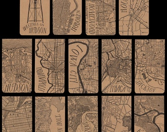 Cities H-N city map letterpress notepad