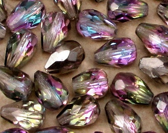 Czech Glass Beads, Firepolished Teardrop, Vitrail Light, 10 x 7 MM, 12 Pc. C507