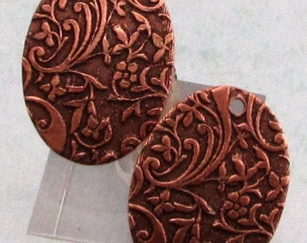 Floral Embossed Oval Drop, Antique Copper, 2 pieces, AC166