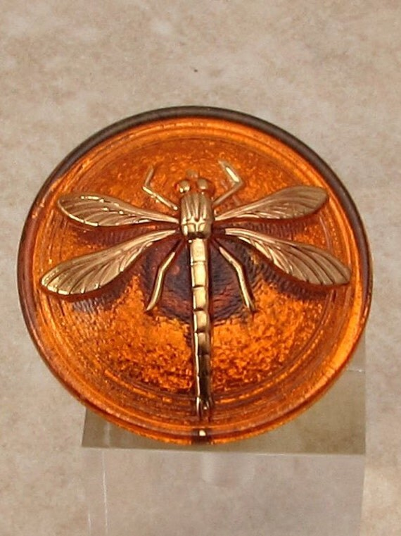 Czech Glass Dragonfly Button, Amber, Gold, 31mm With Pendant Converter C215