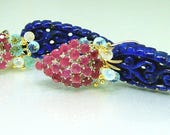 Sterling Silver Ruby Pave Carved Lapis Lazuli Briolette Chandelier Omega Backed Earrings
