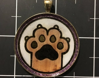 High Four! Raised Paw Pendant, 50% goes to the current focus animal charity, Cat Paw, Don't Declaw, Ban Declawing