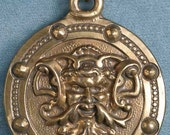 Large Green Man Bronze Pendant