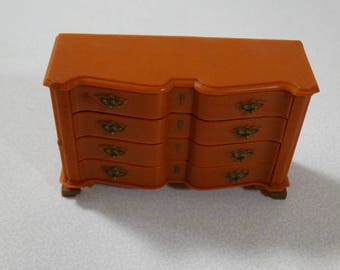 Vintage Dollhouse Dresser - Marx Little Hostess Chest of Drawers Brown Bedroom, Doll House Dresser Louis Marx & Co. Inc. 1964