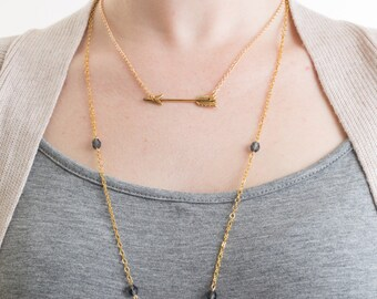 Gold Arrow Necklace, Gold Necklace, Gold Layering Necklace