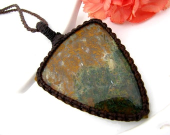 Moss Agate pendant, Turkish Moss Agate Necklace, Agate jewelry, Rare, Macrame necklace, Woodland jewelry, Nature necklace, flora and fauna