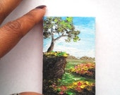"Mini Oil Painting Tree on Cliff 2""x 3"" READY to SHIP"