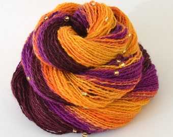 Handspun Yarn -  Spindle Spun Merino Beaded Yarn - Art Yarn- 2oz, 190yd, 17WPI
