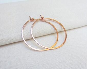 Rose Gold Hoop Earrings, 14K Rose Gold Fill Hoops, Gold Hoops, Simple Gold Fill Hoops, Skinny, Lightweight, Medium Hoop, Shiny, 1 inch hoops