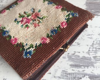 Vintage Needlepoint Wallet - Brown and Pink Satin Change purse Bill Fold