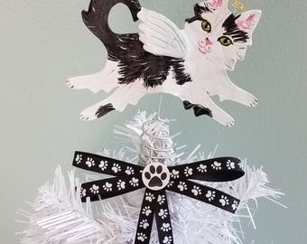 Cat Tree Topper ~ Black and White Cat ~ Cat Angel Topper ~ Mini Tree Topper ~ Mini Cat Topper  ~ Cat Christmas Decorations ~ Grey Cat Decor