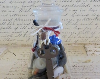 jahrgang labor glas mit knpfen skelett schlssel chemie labor glas - Fantastisch Schussel Aus Knpfen