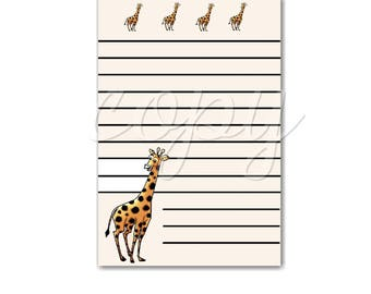 Instant Download  Believe -  Giraffe Note Cards - 3.5 X 5 inches -  Printable Digital Collage Sheet - Digital Download