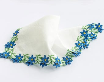 White Cotton Lawn Hankie Embroidered With Blue Gentian Flowers, 23x23cm, Vintage Hanky 1950s,Gift For Her,Mothers Day FREE UK Postage