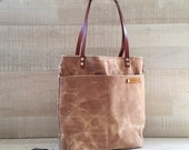 Waxed Canvas Simply Tote Bag in Beige / Cream / Camel / Light brown, unisex tote, multi functional, laptop bag, carry bag, macbook pro large